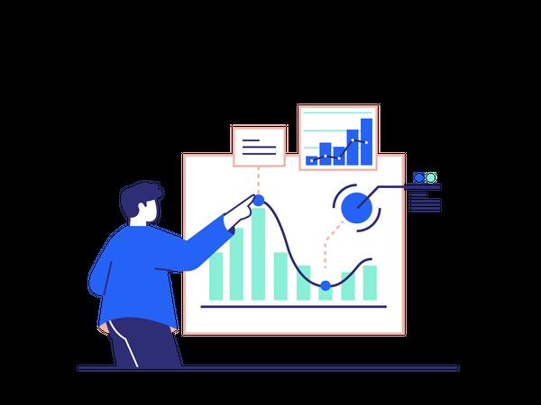 Employee Analyzing sales Growth Illustration