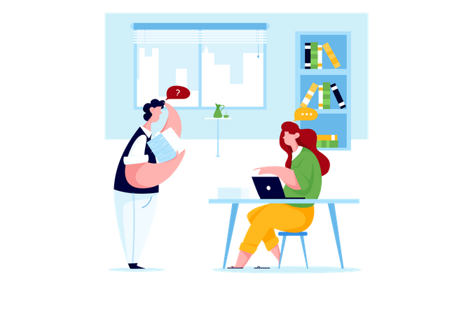 Employee asking a question to leader in office Illustration