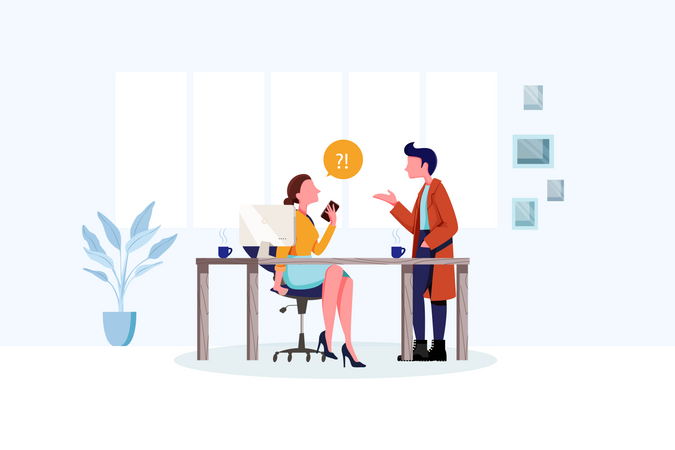 Employee asking question to his head manager Illustration