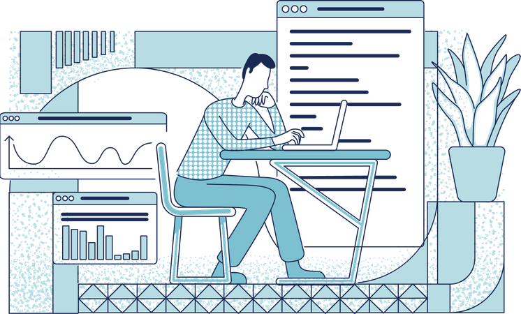 Employee at workplace Illustration