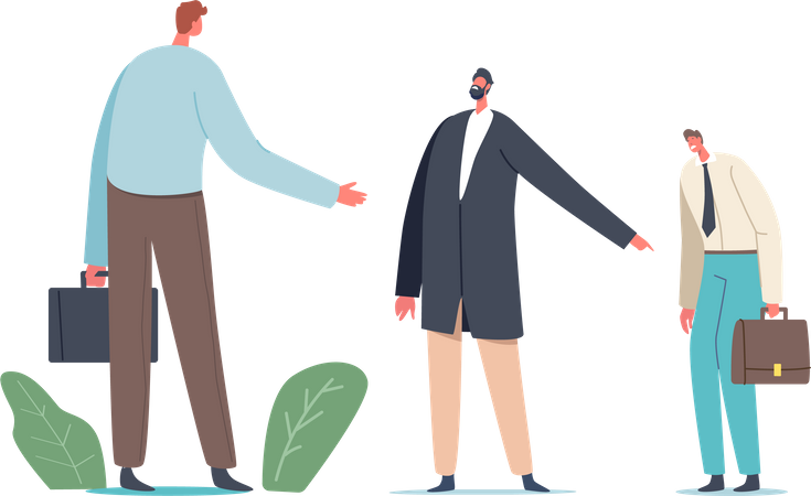 Employee blaming each other in front of boss Illustration
