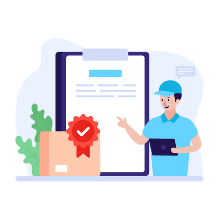 Employee checking and certifying product quality Illustration