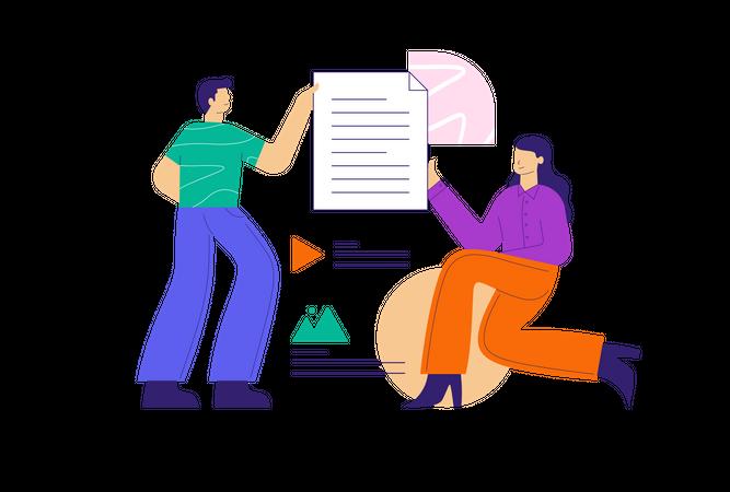 Employee doing File Sharing Illustration