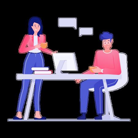 Employee doing gossip in coffee break Illustration