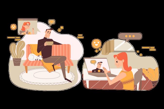 Employee doing online meeting Illustration