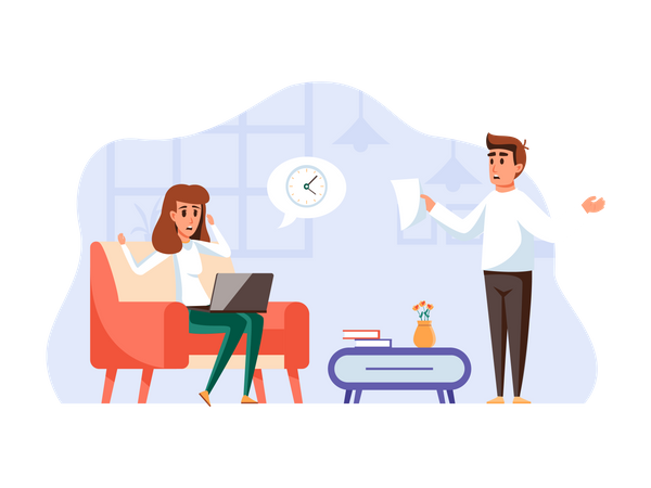 Employee doing overtime in office Illustration