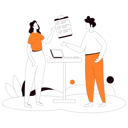 Employee getting Customer requirements Illustration