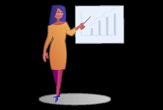 Employee giving presentation Illustration