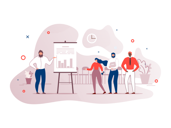 Employee giving presentation in office Illustration
