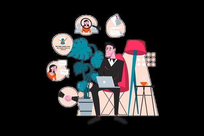 Employee hiring process Illustration