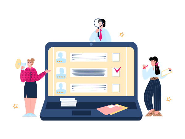 Employee hiring team searching for right candidate Illustration