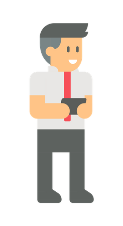 Employee holding mobile Illustration