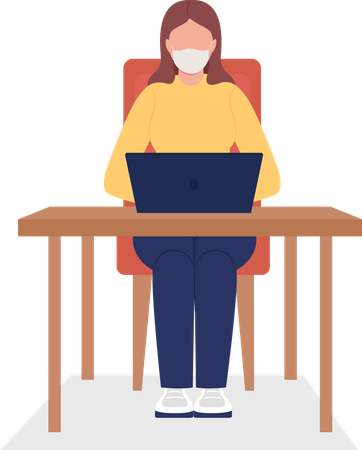 Employee in face mask working in office Illustration