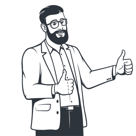 Employee in suit showing both thumbs up Illustration