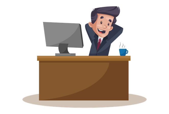 Employee is sitting in a relaxing mood at office desk Illustration