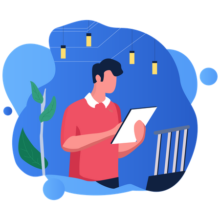 Employee looking at marketing growth Illustration