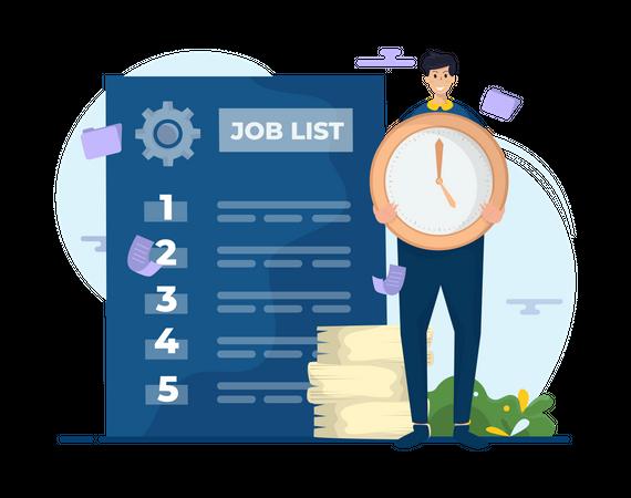 Employee Managing Task list Illustration