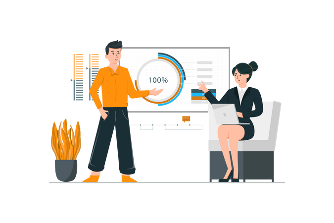 Employee presenting a project to manager in a meeting room Illustration