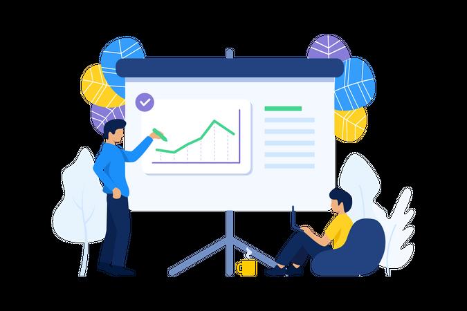 Employee presenting business report Illustration
