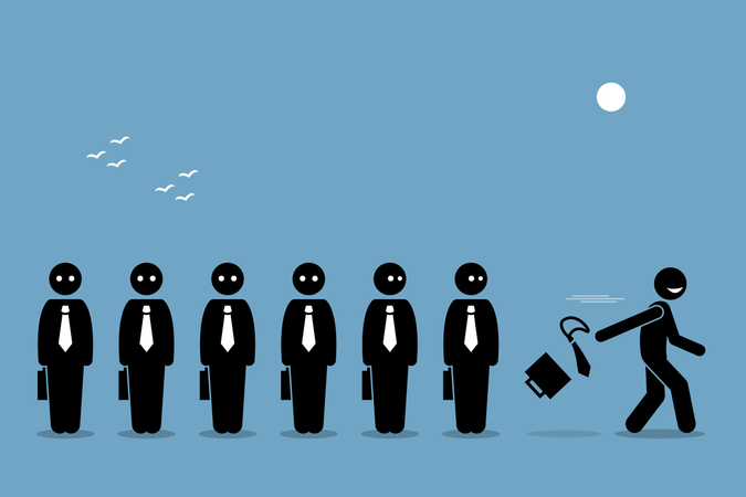 Employee quitting his job by throwing away business briefcase bag and tie leaving all other boring workers behind Illustration