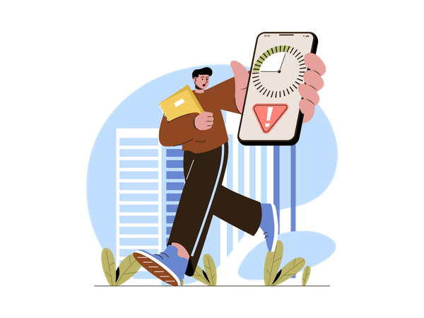 Employee running out of time and running late Illustration