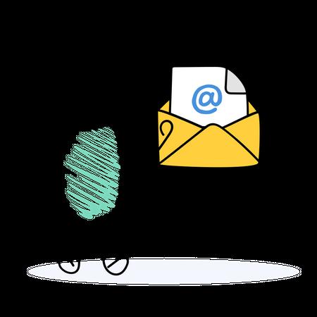 Employee sending emails Illustration