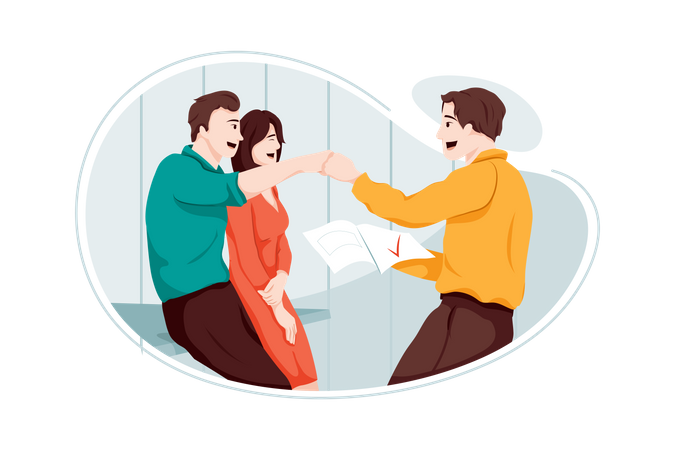 Employee Sharing news about his promotion to collogues Illustration