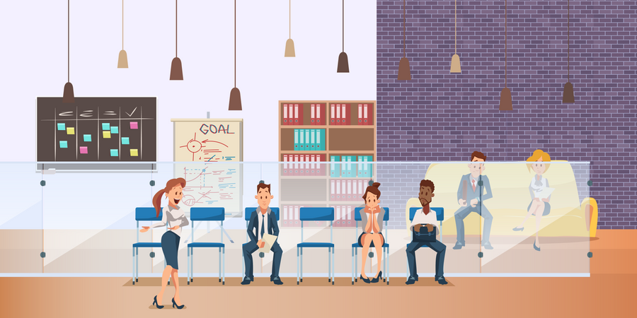 Employee Sitting in Queue for Job Interview Illustration