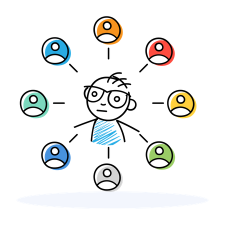 Employee socializing with other colleagues Illustration