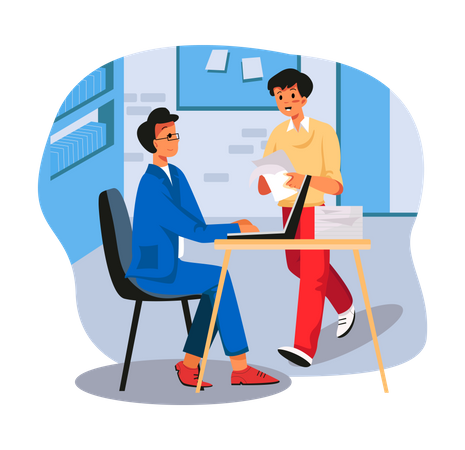 Employee submitting documents to manager Illustration