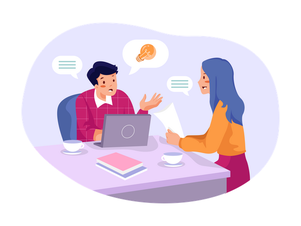 Employee Talking About Business Idea Illustration
