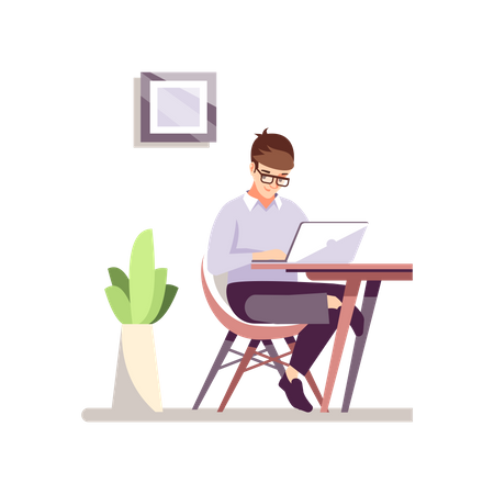 Employee Working From Home Illustration