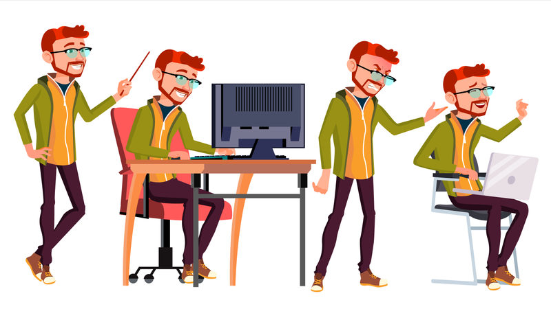 Employee Working Gesture Illustration