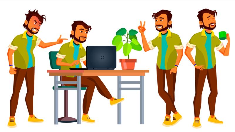 Employee Working Gestures Illustration