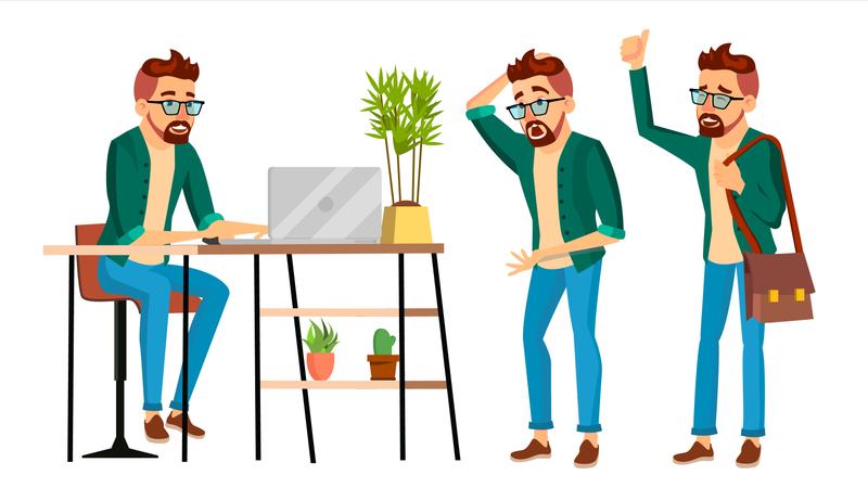 Employee Working In Office Illustration