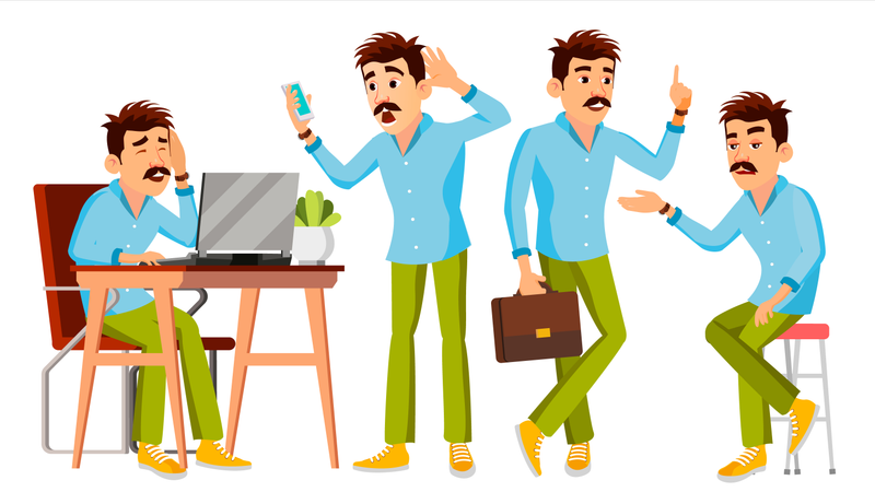 Employee Working In Office On Desk Illustration