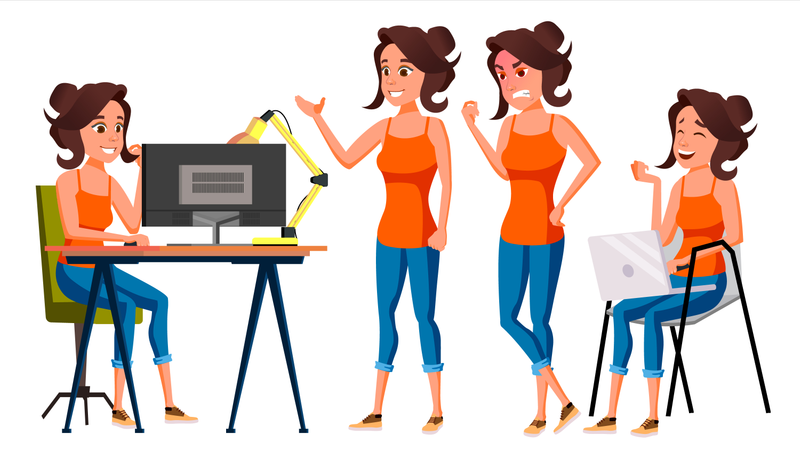 Employee Working In Office With Different Gestures Illustration