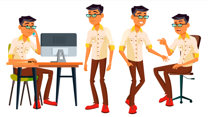 Employee Working In Office With Working Gestures Illustration