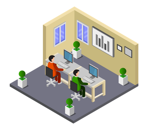Employee working in the office Illustration