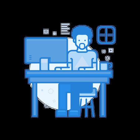 Employee Working On Desk Illustration