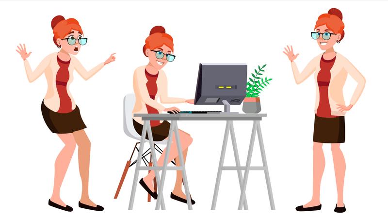 Employee Working On Desk In Office Illustration