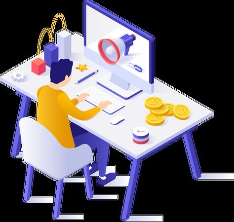 Employee working on digital marketing Illustration