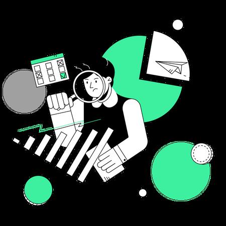 Employee working on marketing idea Illustration