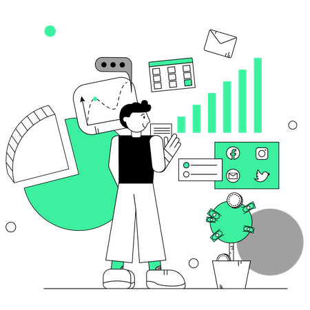 Employee working on marketing plan Illustration