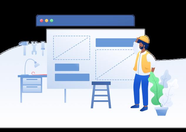 Employee working on product design Illustration