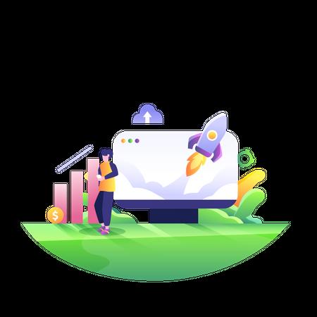 Employee working on startup profit Illustration