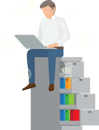 Employee working with laptop Illustration