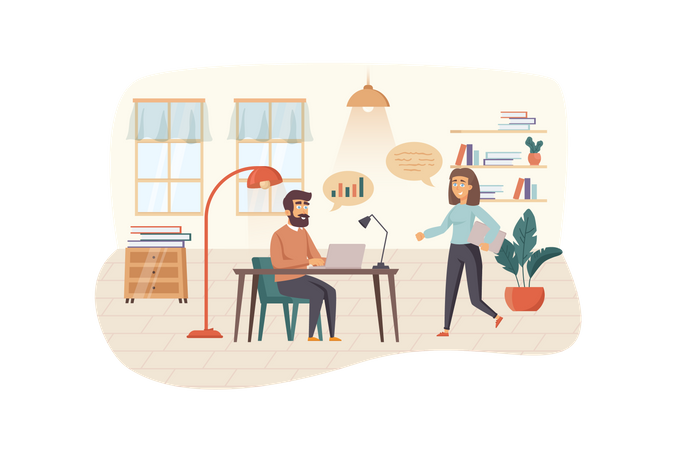 Employees analyze company statistics, discuss strategy, team building Illustration
