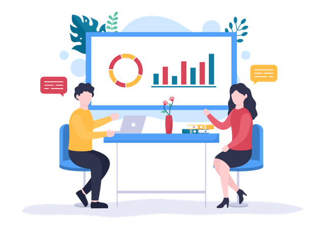 Employees analyzing business data Illustration