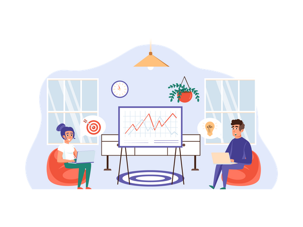 Employees analyzing business growth Illustration